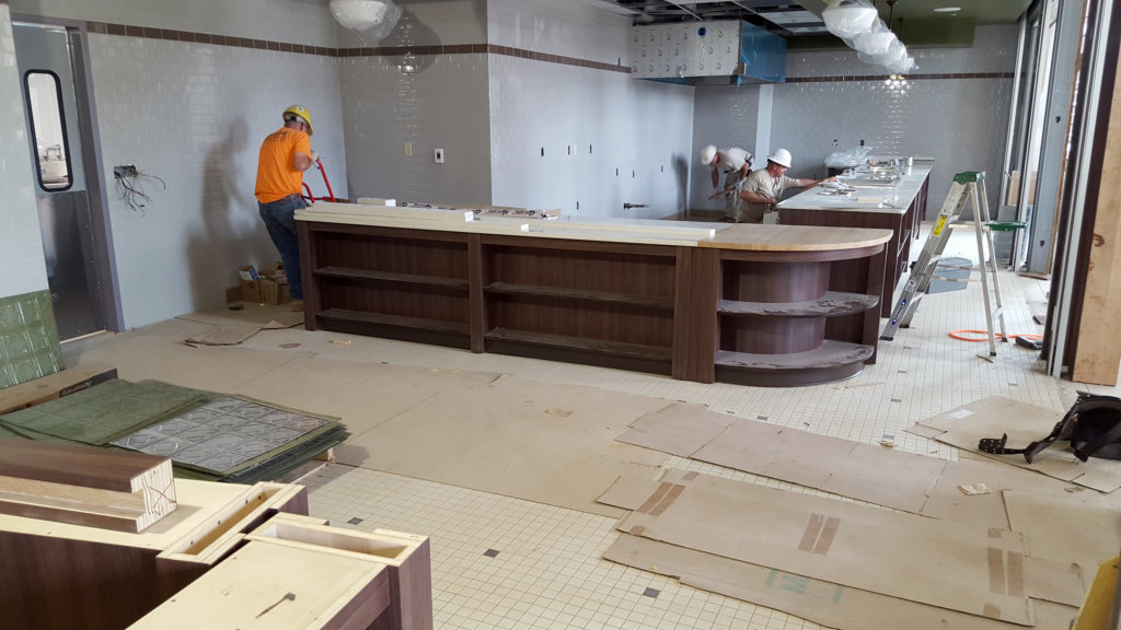 The Zartman team works on the kitchen area of MacDonald Commons at Bucknell University.