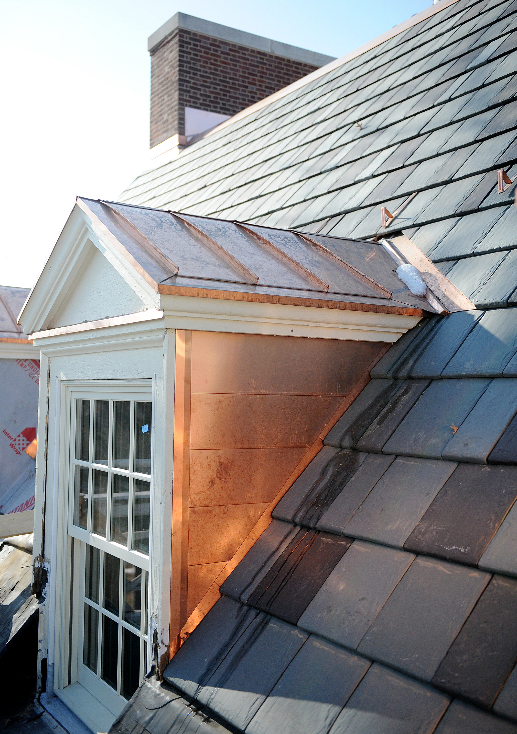 A new roof, utilizing simulated terra cotta slate shingles, was added to Hildreth-Mirza Hall at Bucknell University.