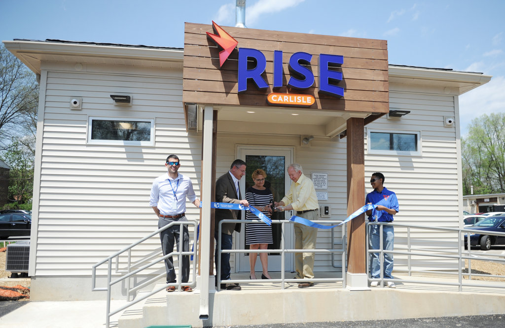 The ribbon is cut at RISE Carlisle.