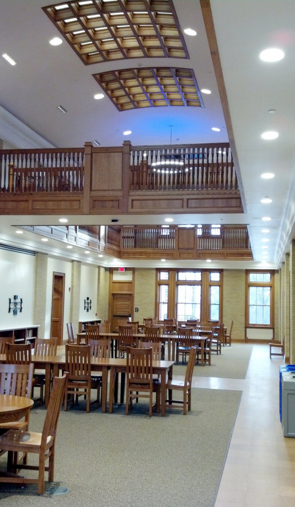 The inside of the Carnegie Building at Bucknell University after renovations.